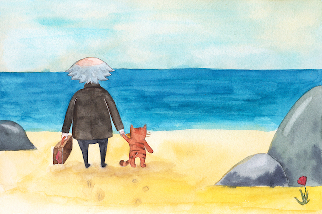 Old man, cat and sea, off-season jaunt to beach