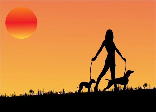 woman-dog-walking