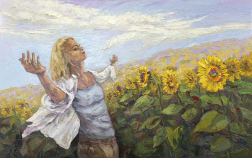 Contentment 30x40 oil painting niki gulley sunflowers lady