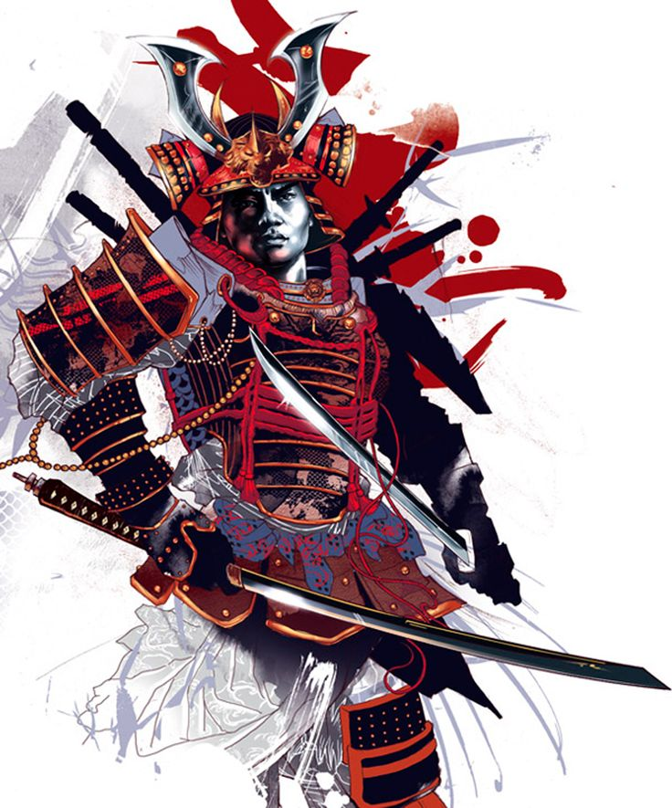 Attractive-Colorful-Samurai-Warrior-Tattoo-Design-By-Kent-Floris