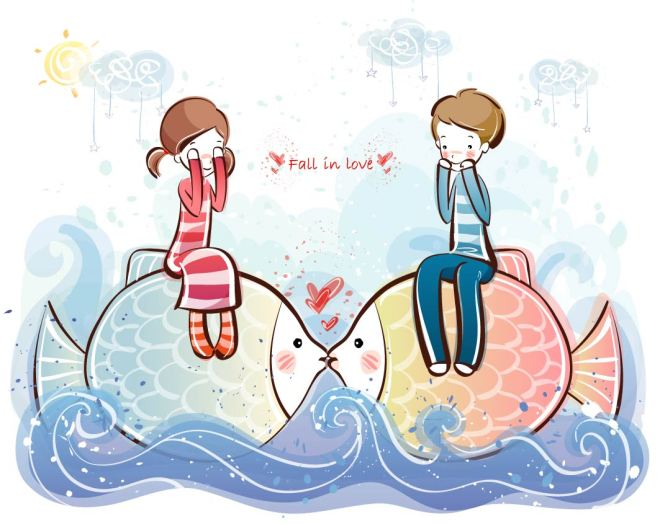 Cute-little-lovers-vector-material-28